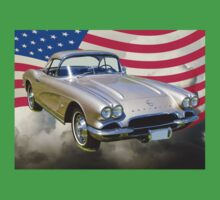 Silver1962 Chevrolet Corvette And American Flag Kids Clothes