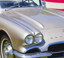 Silver1962 Chevrolet Corvette And American Flag Sticker