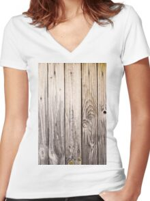 vertical view rustic wood texture old panels Women's Fitted V-Neck T-Shirt