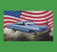 1964 Chevrolet Impala Muscle Car And American Flag Kids Clothes