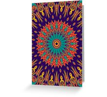 Kaleidoscope Stars & Flames red green lilac Greeting Card