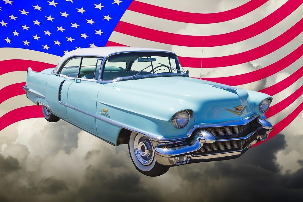 1956 Sedan Deville Cadillac And American Flag by KWJphotoart