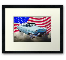 1956 Sedan Deville Cadillac And American Flag Framed Print