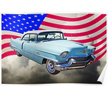 1956 Sedan Deville Cadillac And American Flag Poster