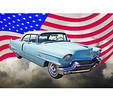 1956 Sedan Deville Cadillac And American Flag Photographic Print