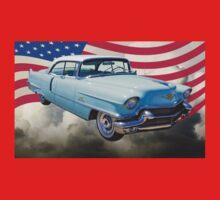 1956 Sedan Deville Cadillac And American Flag One Piece - Long Sleeve