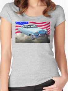 1956 Sedan Deville Cadillac And American Flag Women's Fitted Scoop T-Shirt