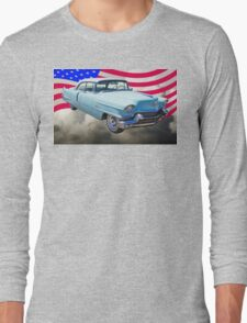1956 Sedan Deville Cadillac And American Flag Long Sleeve T-Shirt
