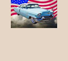 1956 Sedan Deville Cadillac And American Flag T-Shirt