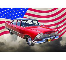 1958 Plymouth Savoy Car With American Flag Photographic Print