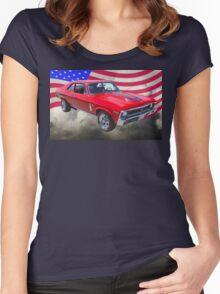1969 Chevrolet Nova Yenko 427 With American Flag Women's Fitted Scoop T-Shirt