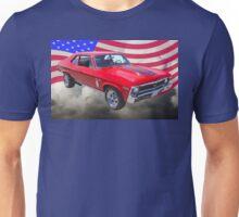 1969 Chevrolet Nova Yenko 427 With American Flag Unisex T-Shirt