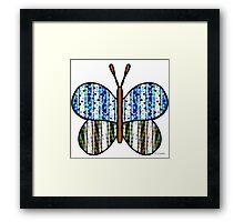 Dotty Stripe Butterfly - Blue Green Framed Print