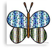 Dotty Stripe Butterfly - Blue Green Canvas Print