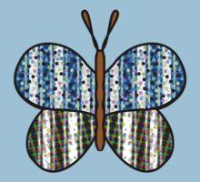 Dotty Stripe Butterfly - Blue Green Kids Tee