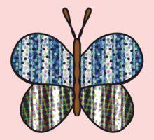Dotty Stripe Butterfly - Blue Green One Piece - Long Sleeve