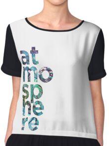 Atmosphere Word - Broken Glass Watercolor Galaxy Mosaic Chiffon Top