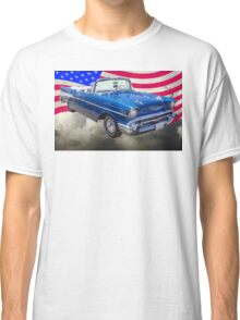 1957 Chevrolet Bel Air With American Flag Classic T-Shirt