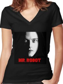 MR. ROBOT Women's Fitted V-Neck T-Shirt