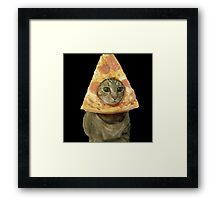 Cat with Pizza Head Framed Print