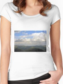 Natural scenery with mountains view and cloudy sky. Women's Fitted Scoop T-Shirt