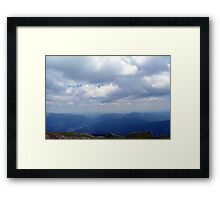 Natural scenery with mountains view and cloudy sky. Framed Print