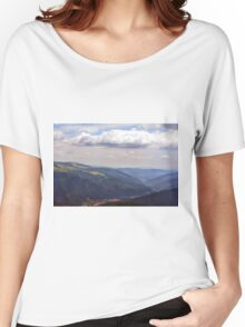 Natural scenery with mountains view and cloudy sky. Women's Relaxed Fit T-Shirt