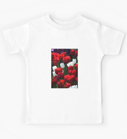 Red and White Tulips Kids Tee
