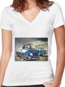 Vintage Storm Women's Fitted V-Neck T-Shirt