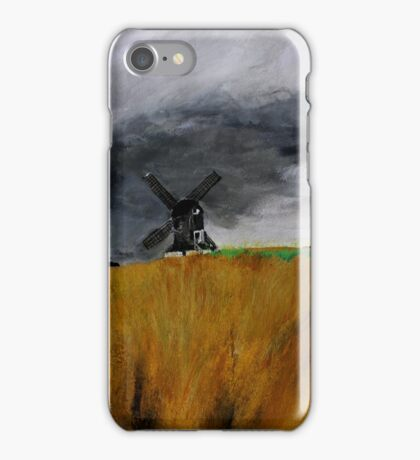 Pitstone Windmill England acrylics on paper iPhone Case/Skin