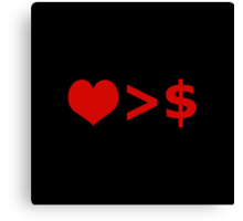 Love is more important  than Money Concept Illustration Canvas Print