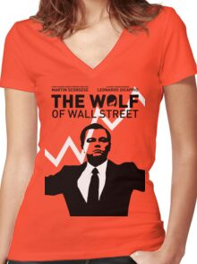 The Wolf of Wall Street - 'The show goes on!' Women's Fitted V-Neck T-Shirt