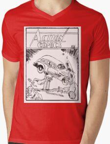 Pengiun Action comics Mens V-Neck T-Shirt