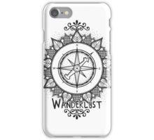 Wanderlust Compass Design - Black iPhone Case/Skin