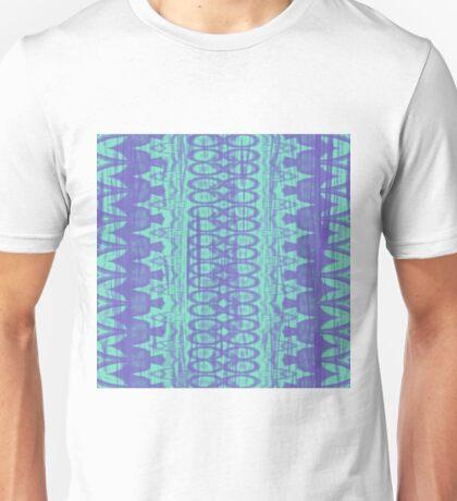 Native Wrinkly Batik pattern - violet & cyan green Unisex T-Shirt