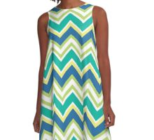 Blue, Aqua, Green Chevron A-Line Dress