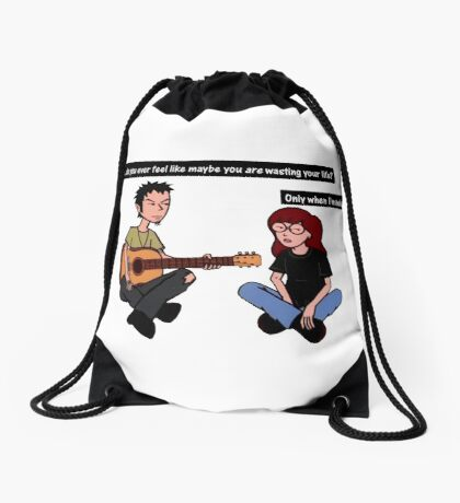 wasting your life  Drawstring Bag