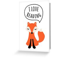 I love reading, cute cartoon fox Greeting Card