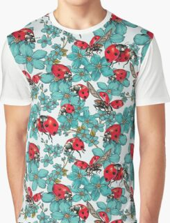 Happy Ladybugs with flowers Graphic T-Shirt