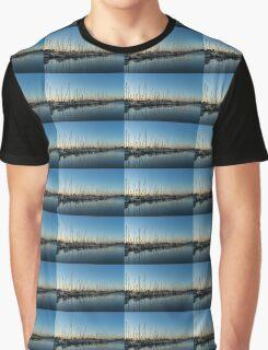 Glossy Early Morning Ripples - Bright Blue Summer at the Marina Graphic T-Shirt