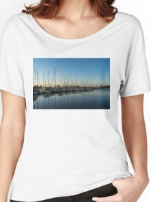 Glossy Early Morning Ripples - Bright Blue Summer at the Marina Women's Relaxed Fit T-Shirt