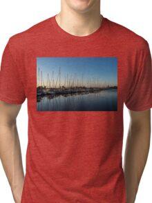 Glossy Early Morning Ripples - Bright Blue Summer at the Marina Tri-blend T-Shirt