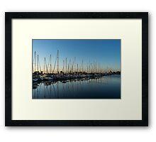 Glossy Early Morning Ripples - Bright Blue Summer at the Marina Framed Print