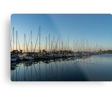 Glossy Early Morning Ripples - Bright Blue Summer at the Marina Metal Print