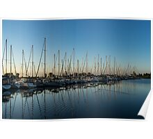 Glossy Early Morning Ripples - Bright Blue Summer at the Marina Poster