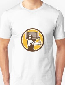Bartender Carrying Keg Pouring Beer Circle Retro Unisex T-Shirt