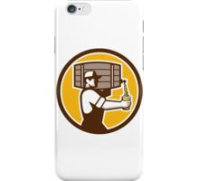 Bartender Carrying Keg Pouring Beer Circle Retro iPhone Case/Skin