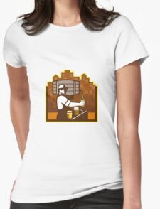 Bartender Pouring Beer Keg Cityscape Retro Womens Fitted T-Shirt