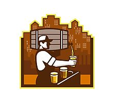 Bartender Pouring Beer Keg Cityscape Retro Photographic Print