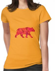 American Black Bear Walking Low Polygon Womens Fitted T-Shirt
